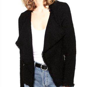 Zara Black Tweed Draped Jacket With Frayed Detail